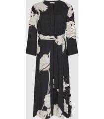reiss zana - floral printed midi dress in black, womens, size 12