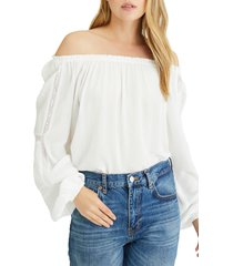 women's sanctuary say so lace inset convertible off the shoulder blouse, size xx-small - white