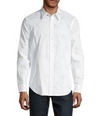 helmut lang men's logo cotton button front shirt - white - size xs