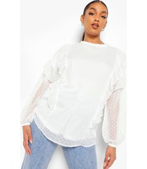 zwangerschap dobby mesh blouse met ruches, white