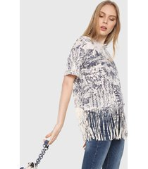 camiseta blanco hueso-azul desigual