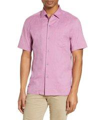 men's tori richard pollenesia short sleeve jacquard button-up shirt, size xx-large - pink