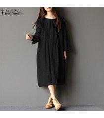zanzea vestido camisero de manga larga para mujer vestido midi informal de caftán vintage y tops -negro