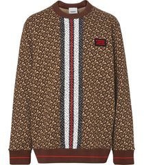 burberry monogram stripe print cotton sweatshirt - brown