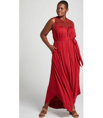 lane bryant women's crochet-yoke fit & flare maxi dress 14/16 sun-dried tomato