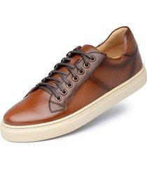 tãªnis casual jacometti marrom 5302 - bronze/caramelo/marrom/multicolorido - masculino - couro - dafiti