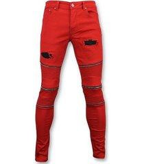 skinny jeans true rise rode biker skinny jeans - broek- 3017-10