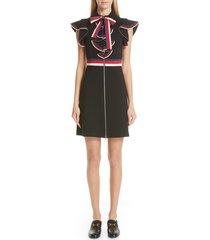 women's gucci sylvie web ruffle stretch jersey dress