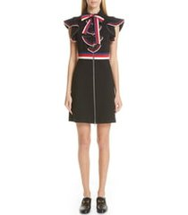 women's gucci web ruffle stretch jersey dress