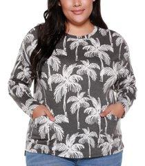 belle by belldini plus size women's palm tree crew neck top