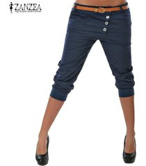 s-3xl zanzea mujeres midi pantalones casuales pantalones de cintura baja carrera elásticas -azul