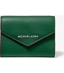 mk portafoglio a bustina medio in pelle a grana incrociata - muschio (verde) - michael kors