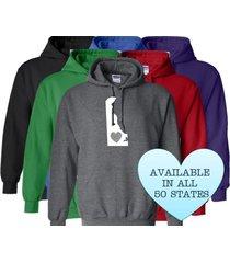 delaware hoodie sweatshirt love home heart unisex men women state