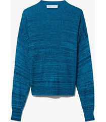 proenza schouler white label marl silk sweater cut out top teal/midnight/blue l