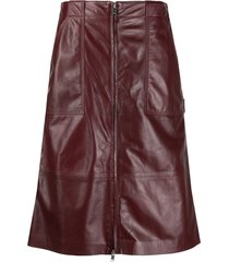 ambush leather zipped high-waisted skirt - red