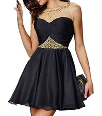 dislax scoop neck beading chiffon short homecoming dresses party gowns black us
