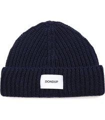 dondup dark blue wool blend hat with logo