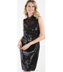 vestido sexy lentejuela negro night concept