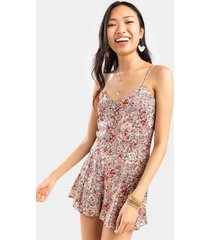 amelle floral button romper - lemon