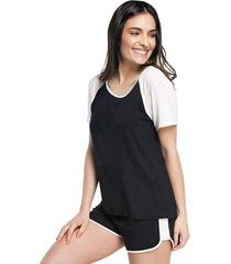 pijama feminino curto com manga curta preto e off white - kanui