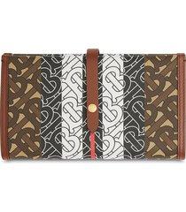 burberry monogram stripe folding wallet - brown