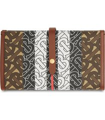 burberry monogram stripe folding wallet - brown