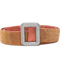 benedetta bruzziches venus rhinestone-embellished silk belt - brown