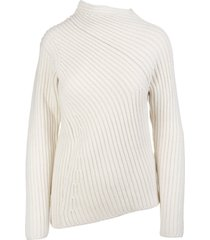 jil sander ivory asymmetrical sweater in ribbed wool and cashmere