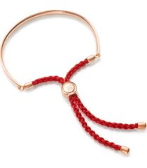 fiji friendship bracelet - coral red, rose gold vermeil on silver