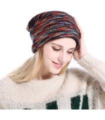 donne uomo cappello in lana lavorato a maglia confano comfortevole sottile a strisce cappello di beanie all'aperto antivento