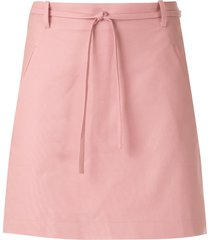 egrey tie waist double pocket skirt - pink