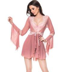 robe francesa cherry moda intima rose - rosa - feminino - dafiti