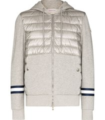 moncler padded zip-up cotton hoodie - grey
