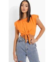 gewatteerd kort t-shirt met schouderstrikjes, orange