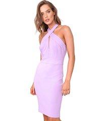 vestido frente-ãšnica colcci curto ajustado lilã¡s - lilã¡s - feminino - viscose - dafiti