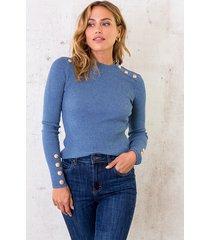 sailor rib trui jeansblauw