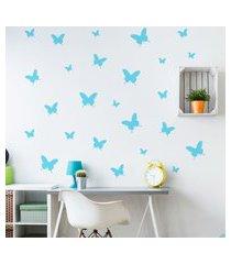 adesivo de parede borboletas azuis 25un cobre 1,5m²