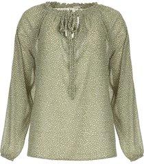 blouse met stippenprint christobel  groen