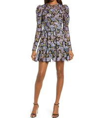 women's dress the population adrienne embroidered puff sleeve mini dress