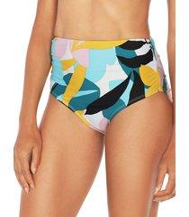 tahari women's poptomistic high-waist bikini bottom - blue multicolor - size s