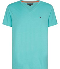 t-shirt manga corta cuello v azul aqua tommy hilfiger