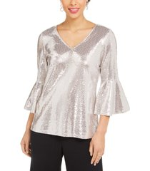 msk sequined bell-sleeve top