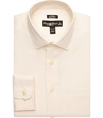 pronto uomo ivory queen's oxford slim fit non-iron dress shirt