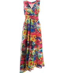 talbot runhof v-neck aquarell floral voile dress - red