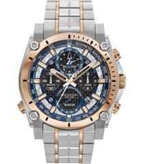 bulova men's chronograph precisionist two-tone stainless steel bracelet watch 46.5mm