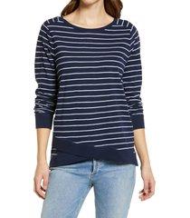 women's caslon cross hem tunic t-shirt, size medium - blue