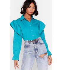 frill in control cropped button-down shirt