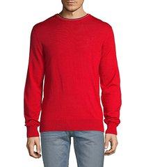 striped collar crew sweater