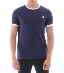 tonal taped ringer t-shirt - carbon blue m6347-885