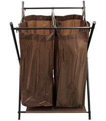 cesto de roupas duplo em tnt 72x52cm marrom